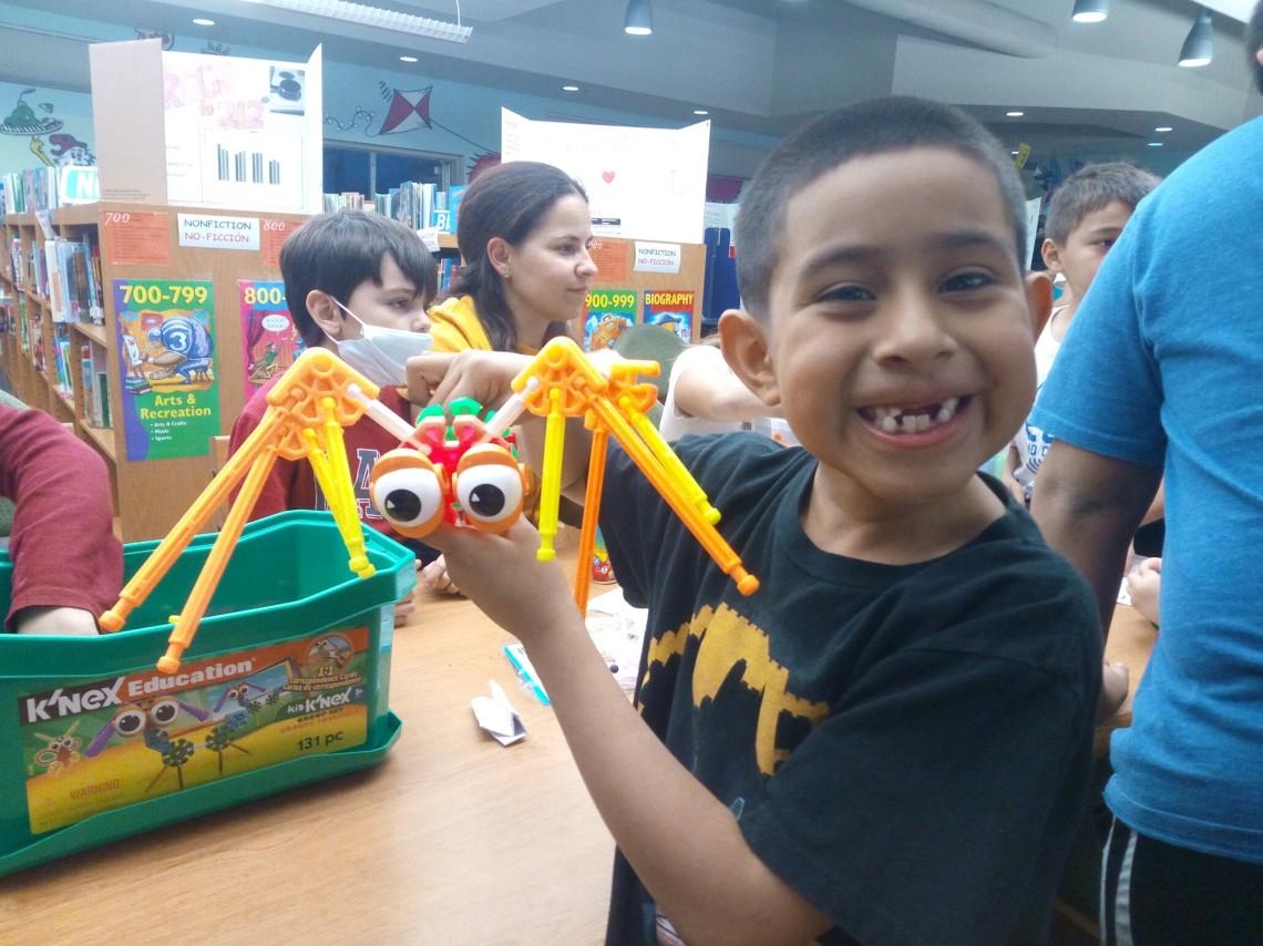 Student proud of his K_Nex creation